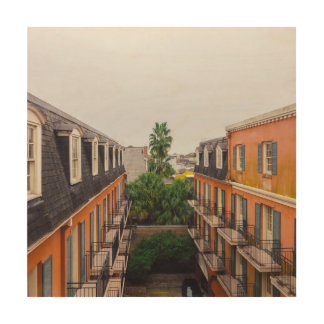 Buildings and Palm Trees in New Orleans Wood Wall Decor