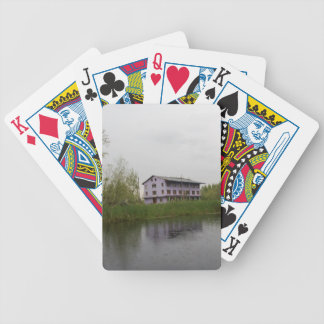 Buildings and shacks on patches of land bicycle card deck