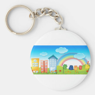 Buildings Basic Round Button Key Ring