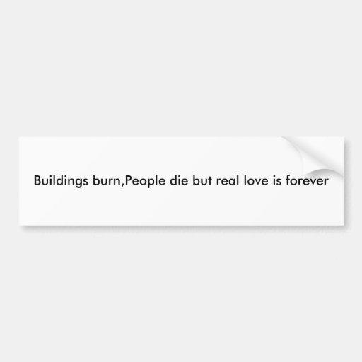 Buildings burn,People die but real love is forever Bumper Sticker