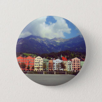Buildings on a River 6 Cm Round Badge
