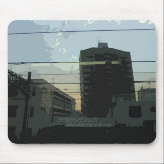 Buildings on the Side of Train Track Mousepad