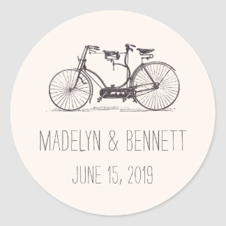 Built for Two   Vintage Tandem Bicycle Wedding Round Sticker