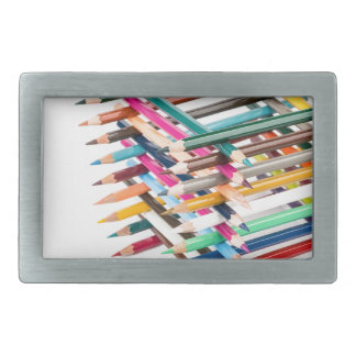 Built square construction of colored crayons belt buckle