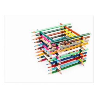 Built square construction of colored crayons postcard