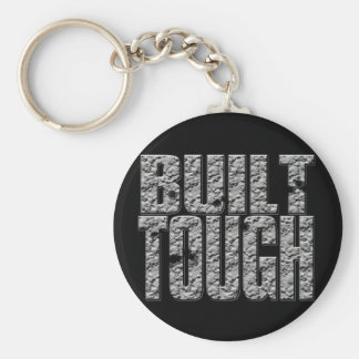 BUILT TOUGH.Hardcore Strong Muscle Man_bl rnd Basic Round Button Key Ring