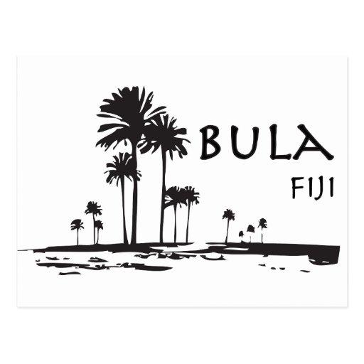 Bula Fiji Palm Tree Graphic Post Card