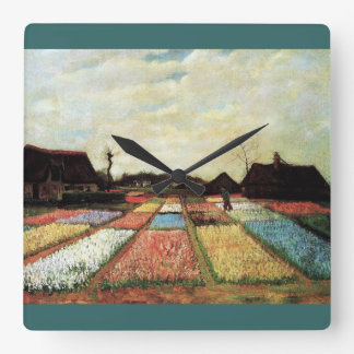 Bulb Fields by Vincent van Gogh. Square Wall Clock