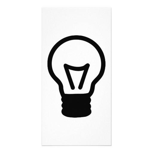 Bulb light icon photo greeting card