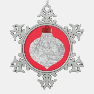 Bulb Shape for Photo Pewter Snowflake Decoration