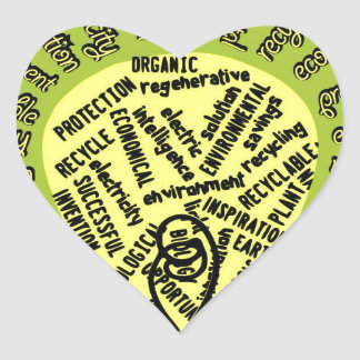 Bulb with ecological terms heart sticker