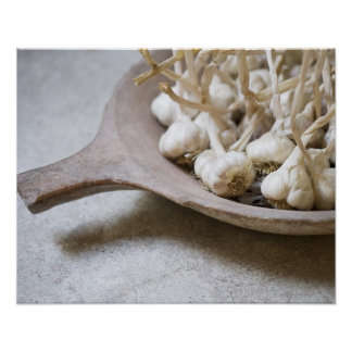 Bulbs of garlic in an earthenware bowl poster