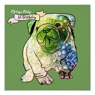 Buldog Puppy Birthday Invitation French Bulldog