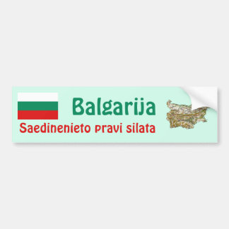 Bulgaria Flag and Map Bumper Sticker