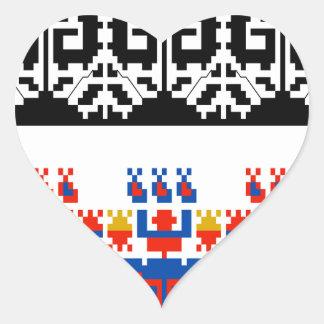 Bulgarian folk art pattern heart sticker