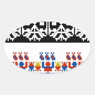 Bulgarian folk art pattern oval sticker