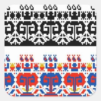 Bulgarian folk art pattern square sticker