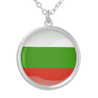 Bulgarian glossy flag silver plated necklace