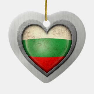 Bulgarian Heart Flag Stainless Steel Effect Ceramic Heart Decoration