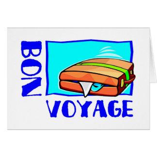 "Bulging suitcase full of luggage: ""Bon Voyage!"" Greeting Cards"