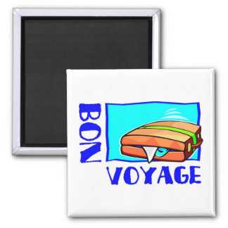 """Bulging suitcase full of luggage: """"Bon Voyage!"""" Magnet"""