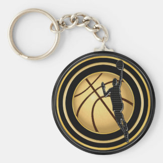 BULK Basketball Favors Black and Gold Basketball Basic Round Button Key Ring