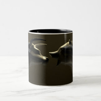 Bull And Bear Market Trend Bronze Castings Two-Tone Coffee Mug