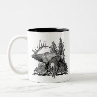 Bull and buck 3 Two-Tone coffee mug