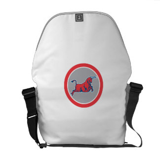 Bull Attacking Charging Circle Retro Courier Bag