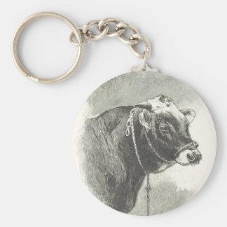 Bull Black and White Basic Round Button Key Ring