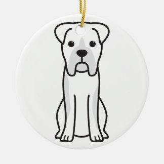 Bull Boxer Dog Cartoon Round Ceramic Decoration