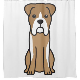 Bull Boxer Dog Cartoon Shower Curtain