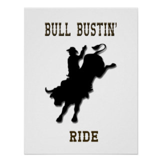 """Bull Bustin' Ride"" Western Rodeo Poster"