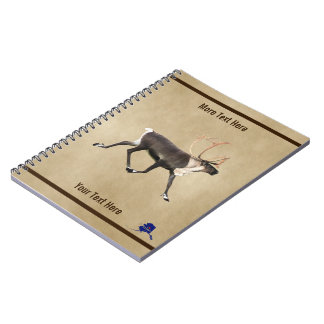 Bull Caribou (Reindeer) On Parchment Notebook