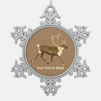 Bull Caribou - Sepia Snowflake Pewter Christmas Ornament