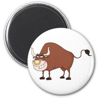 Bull Cartoon Character 6 Cm Round Magnet