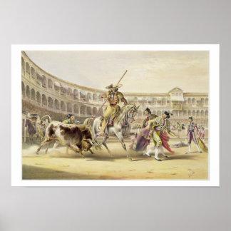 Bull Charging a Picador, 1865 (colour litho) Print