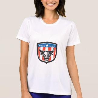 Bull Cow Head USA Flag Crest Low Polygon T-Shirt