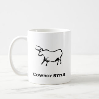 Bull Cowboy Style Black Mug