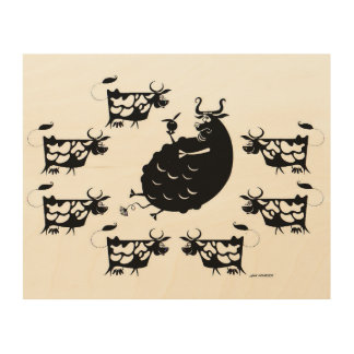 Bull & Cows Wood Prints