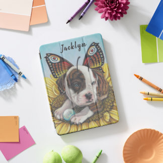 Bull dog Butterfly Fairy Wings art print iPad Pro Cover