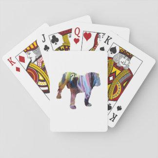 Bull dog playing cards