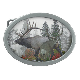 Bull elk And Buck deer 3 Oval Belt Buckles