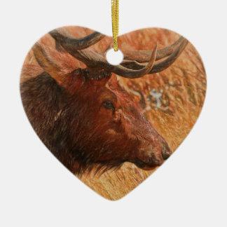 Bull Elk Ceramic Heart Decoration
