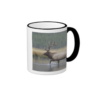 Bull Elk crossing river in snowstorm, Ringer Mug