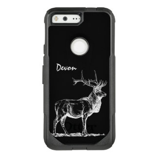 Bull Elk in Black and White OtterBox Commuter Google Pixel Case