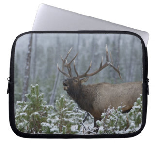 Bull Elk in snow calling, bugling, Yellowstone Laptop Computer Sleeves
