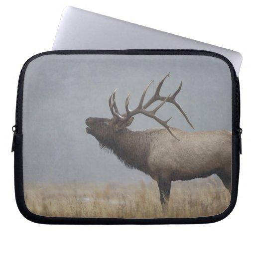 Bull Elk in snow storm calling, bugling, Laptop Computer Sleeve