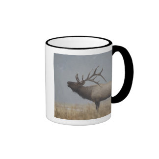 Bull Elk in snow storm calling, bugling, Ringer Mug