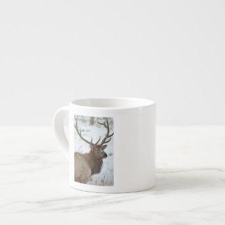 Bull elk in winter in Yellowstone National Espresso Mug